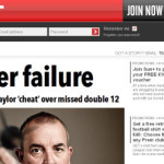 """Column #HR96 The Sun: """"Bristow calls Taylor a cheat over missed double 12."""""""