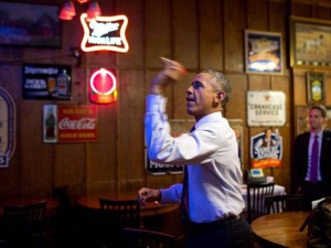 Obama throwing darts